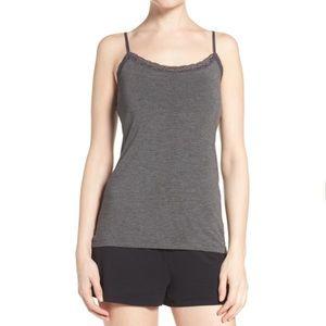 PJ Salvage Lace Trim Cami Pajama Top Gray Medium